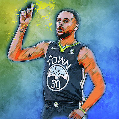 Painting - Steph Curry, Golden State Warriors - 31 by Andrea Mazzocchetti