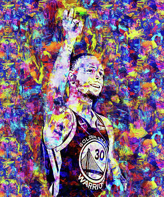Painting - Steph Curry, Golden State Warriors - 43 by Andrea Mazzocchetti