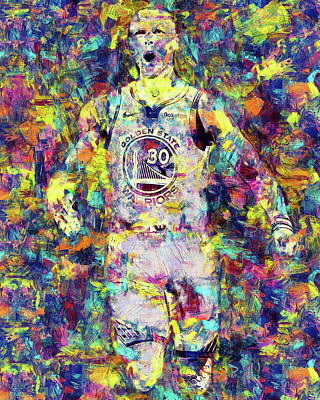 Painting - Steph Curry, Golden State Warriors - 44 by Andrea Mazzocchetti