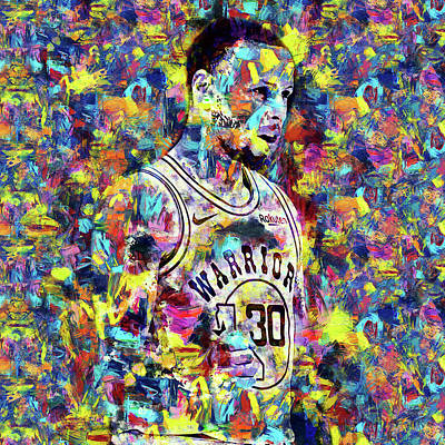 Painting - Steph Curry, Golden State Warriors - 45 by Andrea Mazzocchetti
