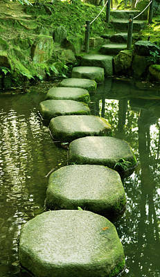 Photograph - Stepping Stones In A Japanese  Garden by Brytta