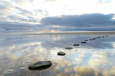 Tranquility Photograph - Stepping Stones Over Water With Sky by Peter Cade