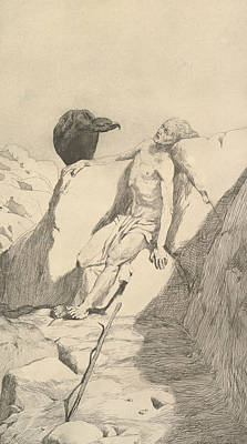 Relief - Sterbender Wanderer, From The Series Radierte Skizzen by Max Klinger