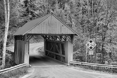 Photograph - Sterling Brook Red Covered Bridge Black And White by Adam Jewell