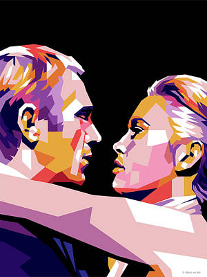 Beach House Throw Pillows - Steve McQueen and Faye Dunaway by Stars on Art
