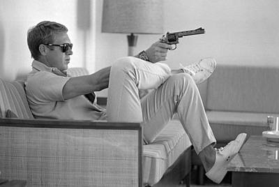 Indoors Photograph - Steve Mcqueen Takes Aim by John Dominis