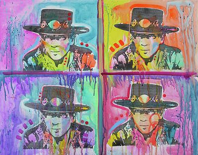 Painting - Stevie Ray 4x by Dean Russo Art