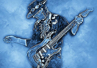 Painting - Stevie Ray Vaughan - 30 by Andrea Mazzocchetti