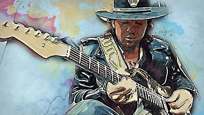 Painting - Stevie Ray Vaughan - 31 by Andrea Mazzocchetti