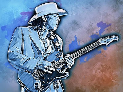 Painting - Stevie Ray Vaughan - 32 by Andrea Mazzocchetti