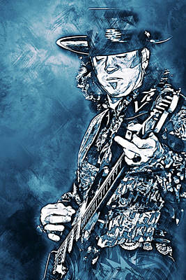 Painting - Stevie Ray Vaughan - 33 by Andrea Mazzocchetti