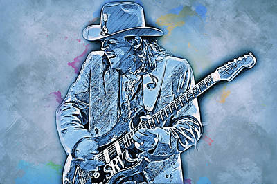 Painting - Stevie Ray Vaughan - 34 by Andrea Mazzocchetti