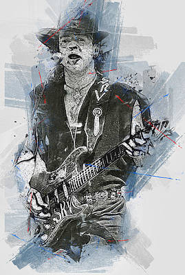 Painting - Stevie Ray Vaughan - 36 by Andrea Mazzocchetti