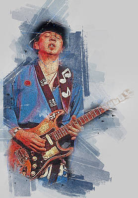 Painting - Stevie Ray Vaughan - 37 by Andrea Mazzocchetti