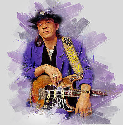 Painting - Stevie Ray Vaughan - 38 by Andrea Mazzocchetti