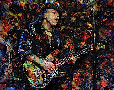 Musician Mixed Media - Stevie Ray Vaughan by Mal Bray