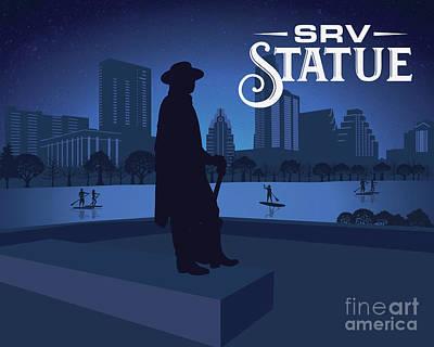 Digital Art - Stevie Ray Vaughan Statue  by Austin Bat Tours