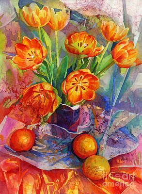 Painting Rights Managed Images - Still Life in Orange Royalty-Free Image by Hailey E Herrera