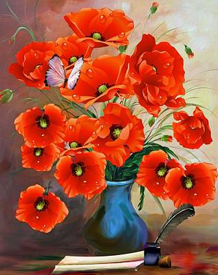 Painting - Still Life Poppies In Vase by Shabby Chic and Vintage Art