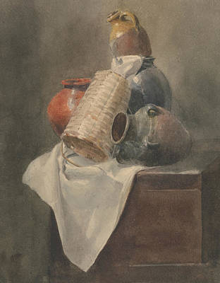Drawing - Still Life - Pots, Basket And Cloth On A Chest by Peter De Wint