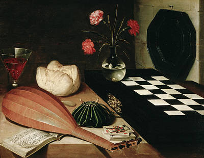 Mandolin Painting - Still Life With A Chess-board By Lubin by Peter Willi