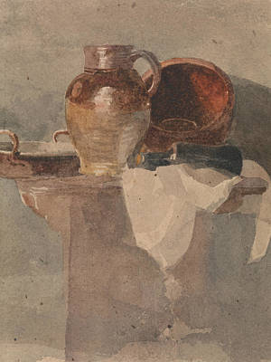 Drawing - Still Life With A Jug And Copper Pan by Peter De Wint