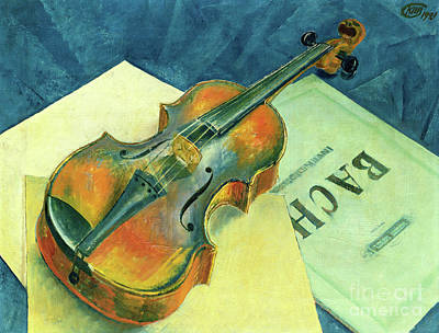 Painting - Still Life With A Violin, 1921 by Kuzma Sergeevich Petrov-Vodkin