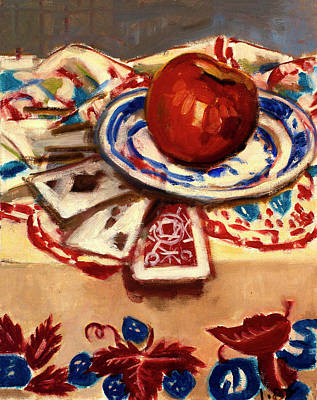 Painting - Still Life With Apple And Cards by Ann Heideman