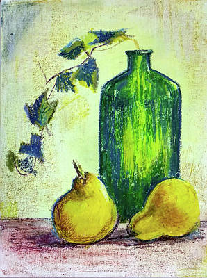 Painting - Still Life With Bottle And Pears by Asha Sudhaker Shenoy