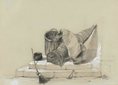 Drawing - Still Life With Broom by Peter De Wint