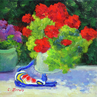 Painting - Still Life With Cat And Geraniums by Carolyn Jarvis