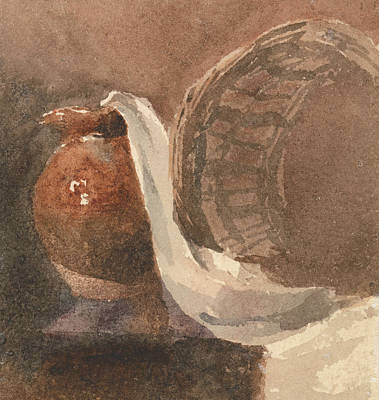 Drawing - Still Life With Earthenware Jug And Broken Basket by Peter De Wint