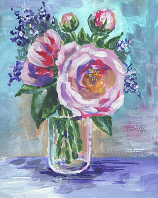 Painting - Still Life With Flowers Bouquet Floral Impressionism  by Irina Sztukowski