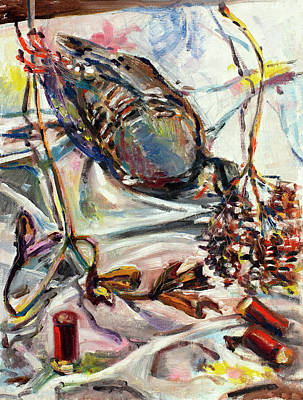 Painting - Still Life With Grouse And Shells by Ann Heideman