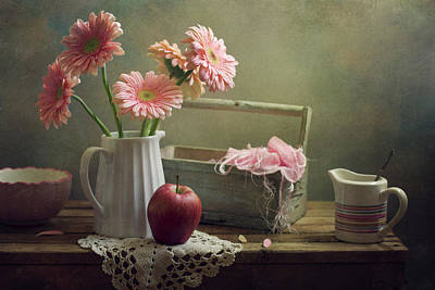 Photograph - Still Life With Pink Gerberas And Red by Copyright Anna Nemoy(xaomena)