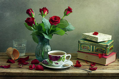 Photograph - Still Life With Red Roses by Copyright Anna Nemoy(xaomena)