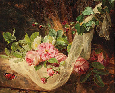 Painting - Still Life With Roses On A Forest Floor  by Andreas Lach
