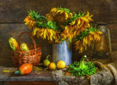 Painting - Still Life With Sunflowers by Vincent Monozlay