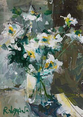 Still Life With White Anemones Art Print