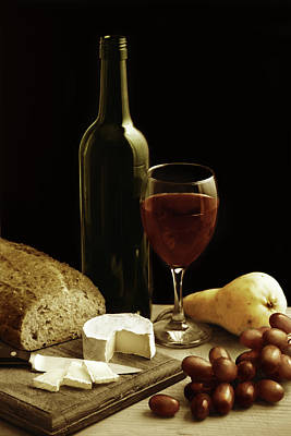 Bottle Cap Photograph - Still Life With Wine Cheese And Fruit by Oliverchilds