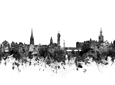 Abstract Skyline Royalty-Free and Rights-Managed Images - Stockholm Skyline Bw by Bekim M