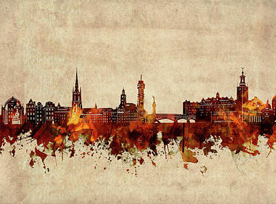 Abstract Skyline Royalty-Free and Rights-Managed Images - Stockholm Skyline Sepia by Bekim M