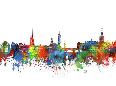 Abstract Skyline Royalty-Free and Rights-Managed Images - Stockholm Skyline Watercolor 2 by Bekim M