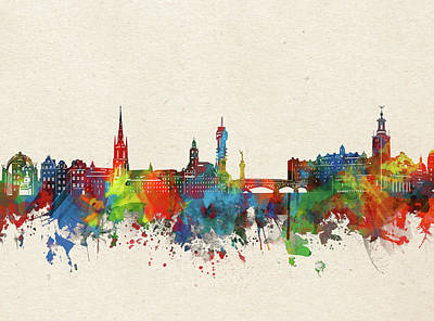 Abstract Skyline Royalty-Free and Rights-Managed Images - Stockholm Skyline Watercolor  by Bekim M