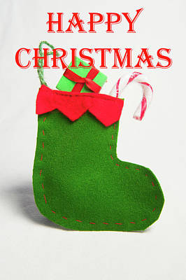 Photograph - Stocking - Happy Christmas by Helen Northcott