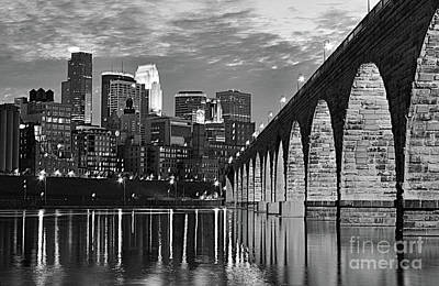 Photograph - Stone Arch Bridge Minneapolis Bw V1 by Wayne Moran