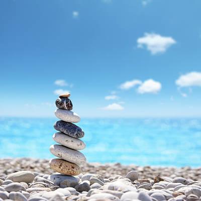 Balance Photograph - Stone Balance On Beach by Imagedepotpro