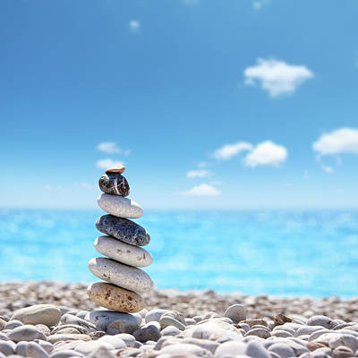 Freedom Photograph - Stone Balance On Beach by Imagedepotpro