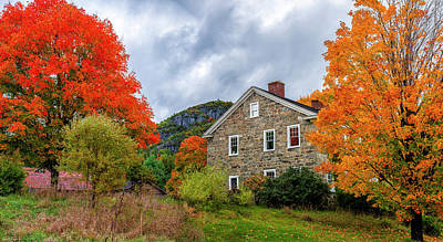 Photograph - Stone House In Autumn by Mark Papke