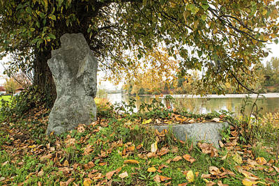 Photograph - Stone Marker And Fallen Leaves by Tom Cochran